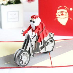 3D Santa Cool Biker Pop Up Card