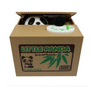 Panda bear stealing coin money box piggy bank